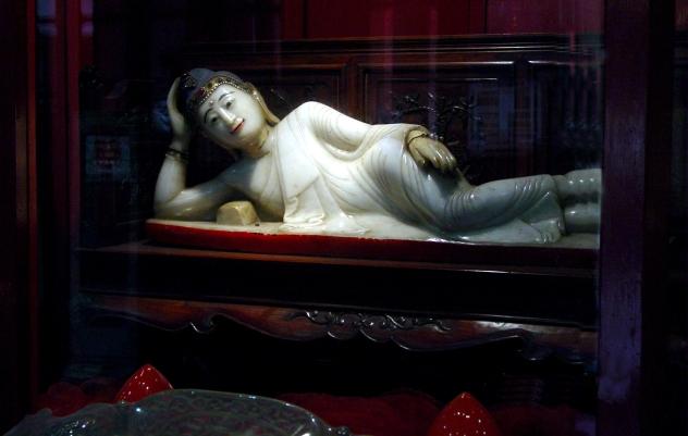 A reclining Buddha at the Jade Buddha Temple in Shanghai China